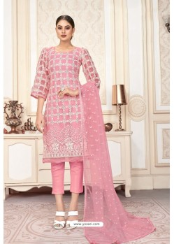 Pink Butterfly Net Party Wear Designer Suit