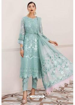 Sky Blue Designer Pakistani Style Suit