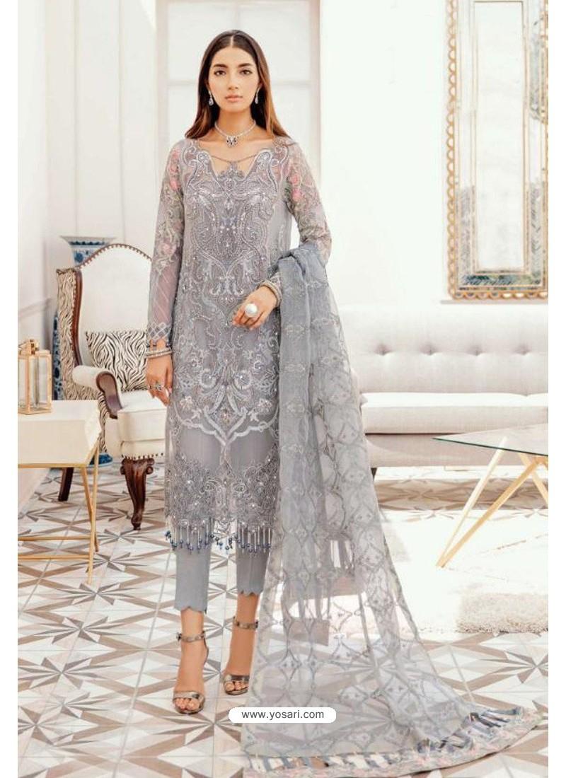 Grey Designer Pakistani Style Suit