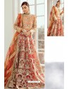 Red And Orange Heavy Designer Party Wear Suit
