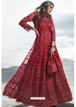 Red Heavy Designer Party Wear Anarkali Suit