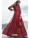 Red Heavy Designer Party Wear Anarkali Suit