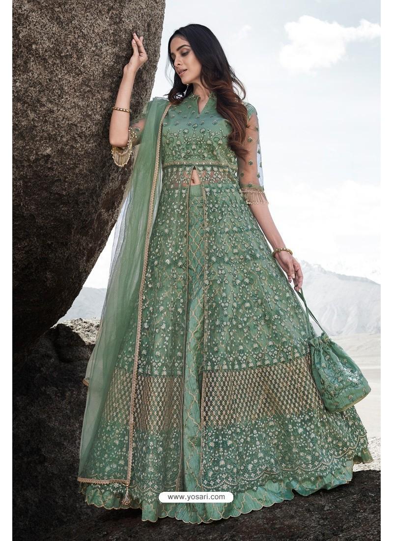 Green Heavy Designer Party Wear Anarkali Suit