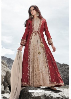 Beige And Maroon Heavy Designer Party Wear Anarkali Suit