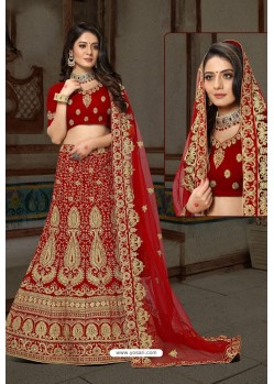 Latest Red Bridal Wedding Wear Velvet Lehenga Choli