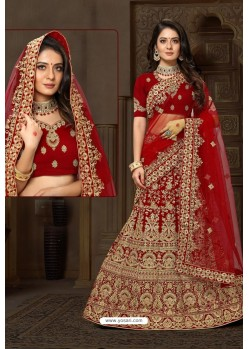 Glorious Red Bridal Wedding Wear Velvet Lehenga Choli