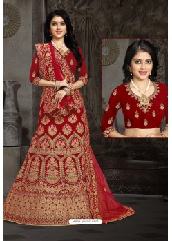 Lovely Red Bridal Wedding Wear Velvet Lehenga Choli