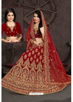 Amazing Red Bridal Wedding Wear Velvet Lehenga Choli