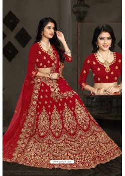 Pretty Red Bridal Wedding Wear Velvet Lehenga Choli