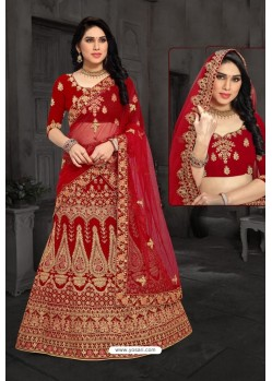 Elegant Red Bridal Wedding Wear Velvet Lehenga Choli