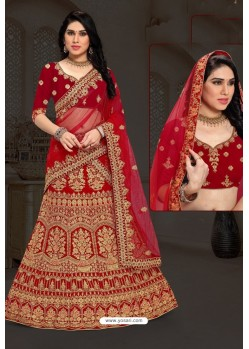 Beautiful Red Bridal Wedding Wear Velvet Lehenga Choli
