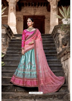 Sky Blue And Pink Designer Wedding Wear Lehenga Choli