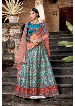 Sky And Teal Blue Designer Wedding Wear Lehenga Choli