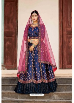 Navy Blue Designer Wedding Wear Lehenga Choli