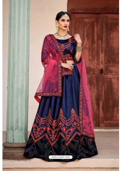 Latest Navy Blue Designer Wedding Wear Lehenga Choli