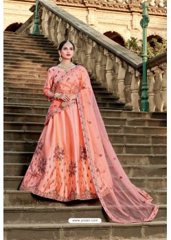 Peach Designer Wedding Wear Lehenga Choli
