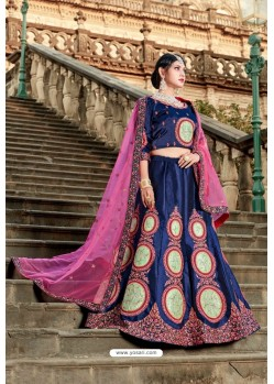 Stunning Navy Designer Wedding Wear Lehenga Choli