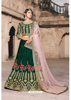 Dark Green Designer Wedding Wear Lehenga Choli