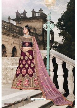 Wine Designer Wedding Wear Lehenga Choli
