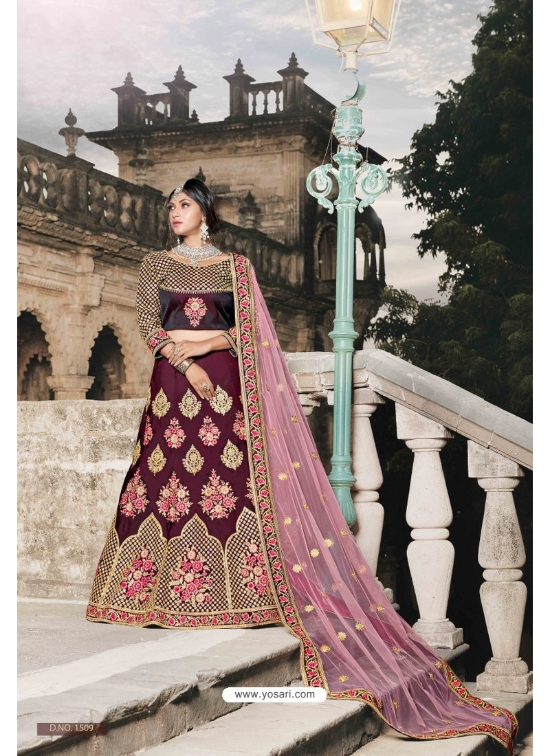 Wine Designer Wedding Wear Lehenga Choli