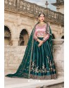 Dark Green And Pink Designer Wedding Wear Lehenga Choli