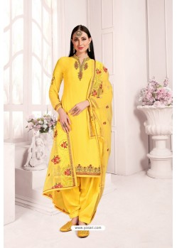 Yellow Georgette Party Wear Salwar Suit