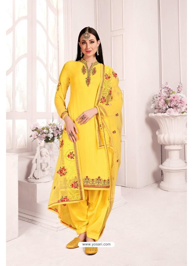 Yellow Georgette Party Wear Salwar Suit