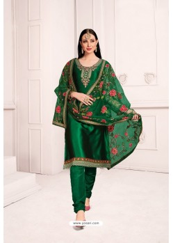 Dark Green Georgette Party Wear Salwar Suit
