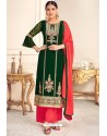 Dark Green Viscose Georgette Designer Straight Suit
