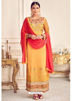 Yellow Viscose Georgette Designer Straight Suit
