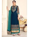 Navy And Teal Viscose Georgette Designer Straight Suit
