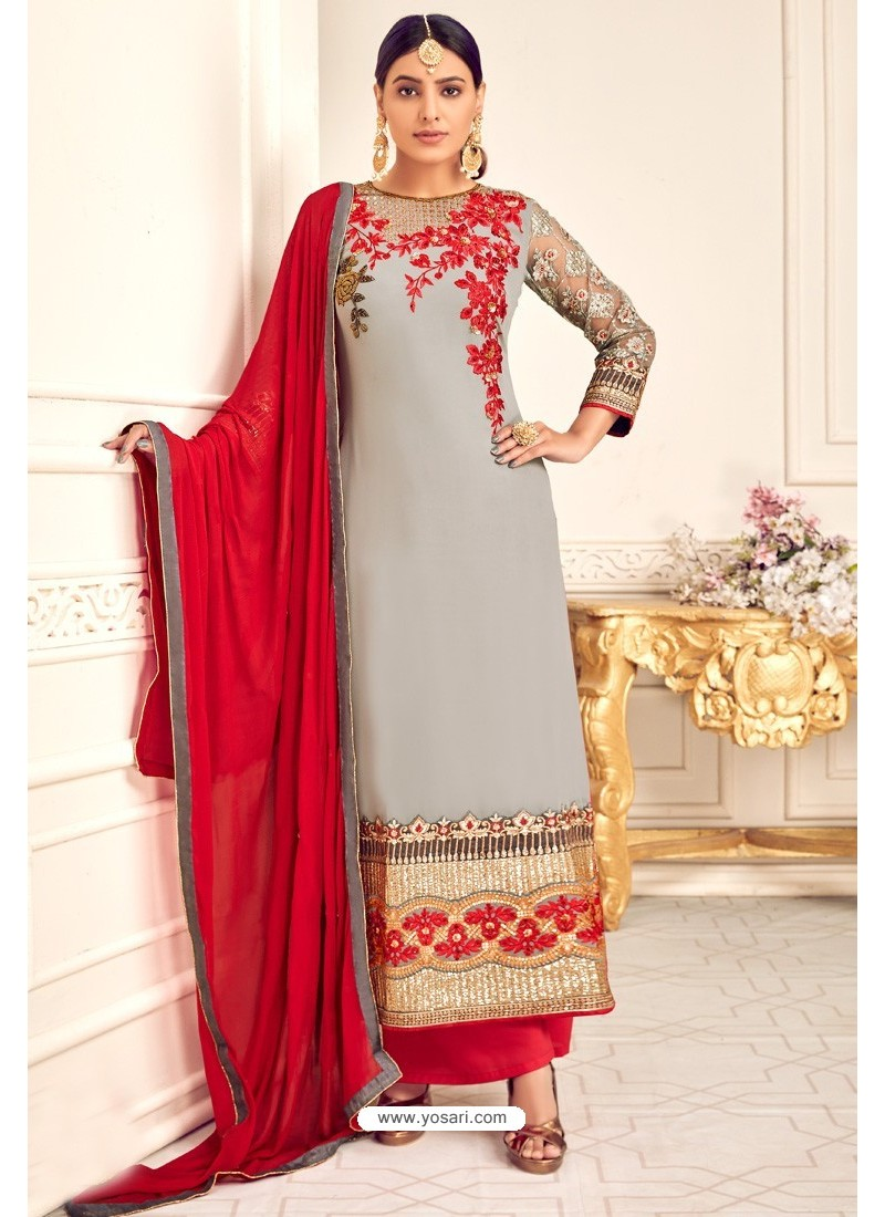 Grey And Red Viscose Georgette Designer Straight Suit