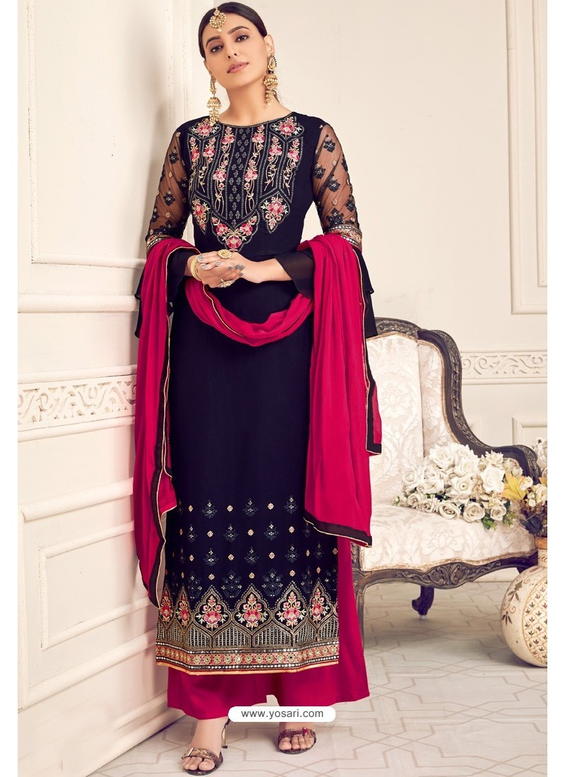Navy And Rani Viscose Georgette Designer Straight Suit