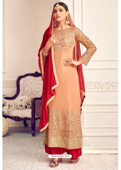 Light Orange Viscose Georgette Designer Straight Suit