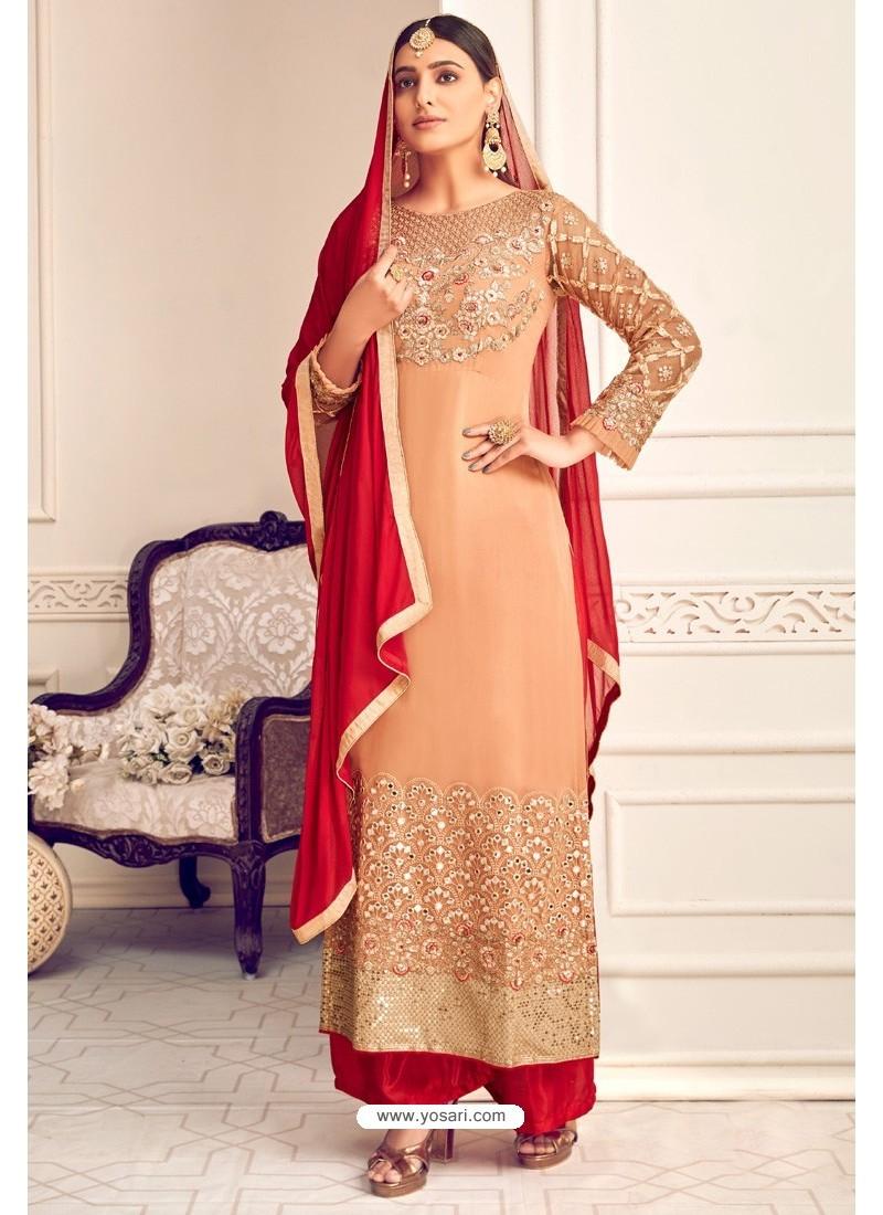 Light Orange Viscose Georgette Designer Straight Suit