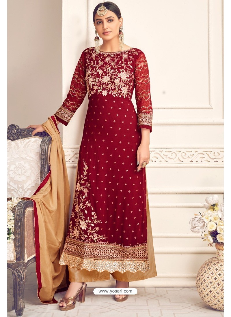Maroon And Cream Viscose Georgette Designer Straight Suit