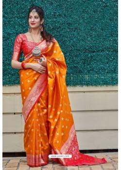 Orange Banarasi Art Silk Traditional Wear Designer Saree