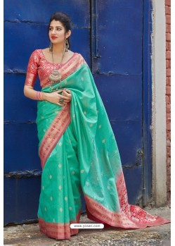 Aqua Mint Banarasi Art Silk Traditional Wear Designer Saree