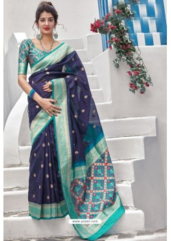 Navy Blue Banarasi Art Silk Traditional Wear Designer Saree