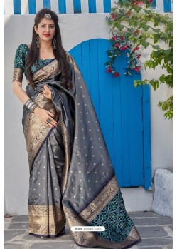 Grey Banarasi Art Silk Traditional Wear Designer Saree