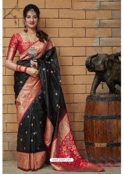 Black Banarasi Art Silk Traditional Wear Designer Saree