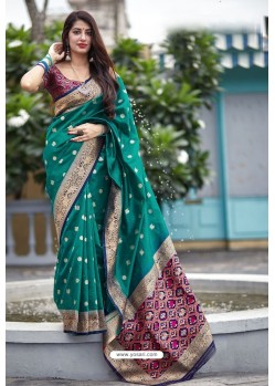 Teal Banarasi Art Silk Traditional Wear Designer Saree