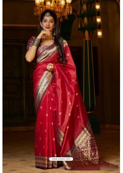 Red Banarasi Art Silk Traditional Wear Designer Saree