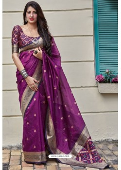 Violet Banarasi Art Silk Traditional Wear Designer Saree