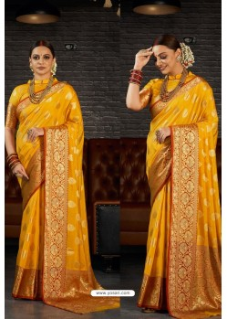 Yellow Designer Sana Silk Classic Wear Saree