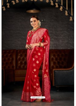 Red Designer Sana Silk Classic Wear Saree