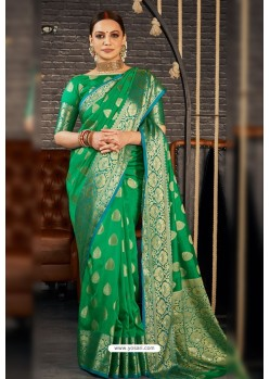 Forest Green Designer Sana Silk Classic Wear Saree