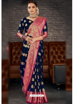 Navy Blue Designer Sana Silk Classic Wear Saree