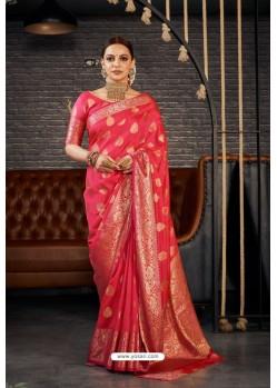 Fuchsia Designer Sana Silk Classic Wear Saree