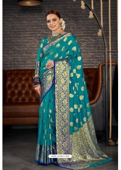 Teal Blue Designer Sana Silk Classic Wear Saree